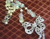 Rhinestone Bow - Crystal And Rhinestone Necklace - Wedding Necklace - Prom Necklace