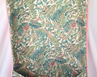 Adult bib with crumb catcher pocket fabric with ferns