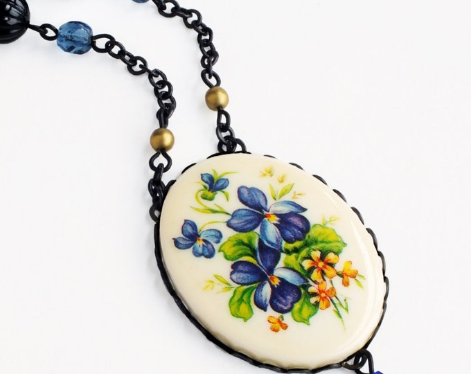 Blue Flower Cameo Necklace Vintage Violet Pansy Blue Floral Pendant Victorian Pansy Jewelry Blue Floral Necklace