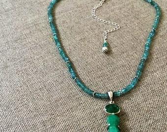 Natural emerald pendant with aquamarine adjustable choker