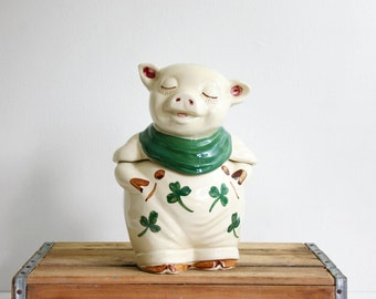 Vintage Shawnee Shamrock Pig Cookie Jar / Antique 1940s Shawnee Smiley Pig Ceramic Canister