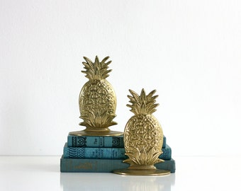 Mid Century Brass Hollywood Regency Pineapple Bookends