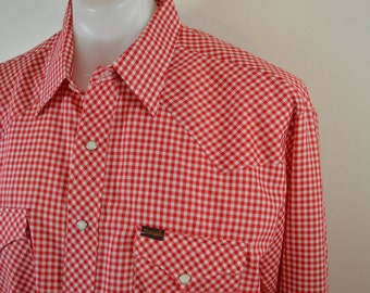 Vintage WRANGLER gingham check western shirt long sleeve USA made size XL