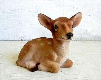Velvet Flocked Deer Figurine | Baby Fawn | Parma by AAI Made in Japan Deer
