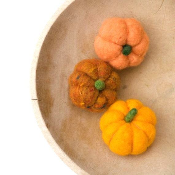Neede Felted Pumpkins for fun Autumn, Fall or Thanksgiving Decorating, Rustic Home Decor - 3