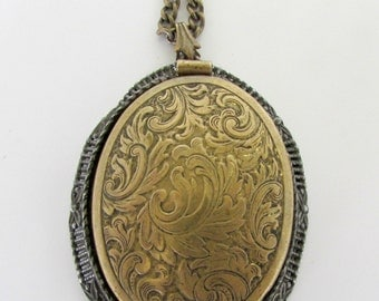 Art Nouveau Locket Triple Photo Folding Hair Locket Large Oval Antique Brass Locket 1910s Antique Locket Vintage