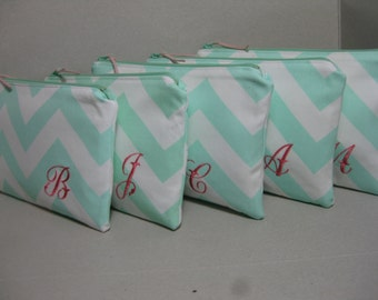 Bridesmaid Gift with Monogram / Chevron Clutch/Make Up Bag, Wedding, Bridal, Choice of Colors/ Sets of 4,5,6,7,8