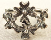 Adjustable Size 6 Vintage Beau Sterling Openwork Detailed Flowers Ring