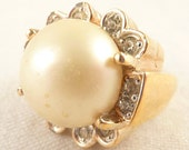 Size 7 Vintage Panetta Goldplated Sterling Giant Faux Pearl and Rhinestone Art Deco Ring