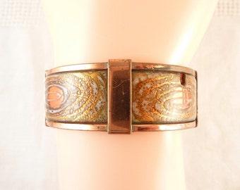 Vintage Matisse Enamel Copper Hinged Bracelet