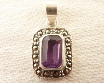 Vintage Radiant Cut Amethyst Sterling and Marcasite Pendant
