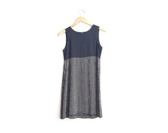 Size XS // STRIPED DRESS // Black Solid Color + Print Mix - Sleeveless Rayon Mini Dress - Vintage '90s.