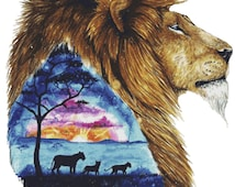 Lion Cross Stitch Kit, Scandy Girl, 'Father's Love Never Dies' Counted Cross Stitch Kit, Africa, Lion King, Counted Cross Stitch, Lion Art