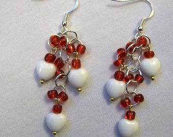 Cluster Earrings, Valentine Heart Earrings, White Heart Earrings, Heart Earrings, Valentine Earrings, Dangle Heart Earrings