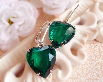Romantic Jewelry Gift - Emerald - Heart Earrings - Green - HEARTSONG Emerald