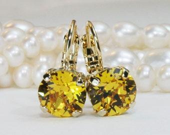 Yellow Crystal Earrings,Yellow earring,Sunflower earrings Canary Yellow Drop Earrings Yellow Swarovski Crystal Earrings Yellow Wedding,GE2