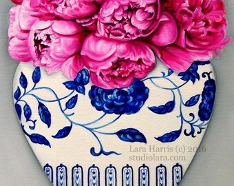 Hot Pink Peonies in a Ming Vase . . . 18x24 Original OIL Painting by LARA Ginger Jar