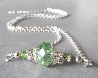 Green Crystal Necklace Peridot Bridesmaid Necklace Light Green Wedding Jewelry Beaded Necklace Silver Chain 16 18 or 20 Inch Length Handmade