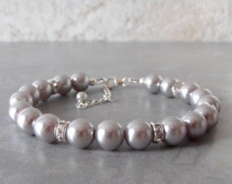 Gray Pearl Bracelet Grey Bridesmaid Bracelets Wedding Jewelry Beaded Bracelets Simple Bridal Jewelry Silver Pearl Bridesmaid Jewelry Avalon