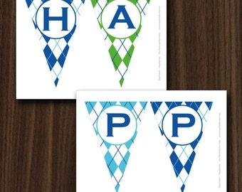 Golf Banner, Golf Theme Banner, Golf Theme Happy Birthday Banner, INSTANT DOWNLOAD