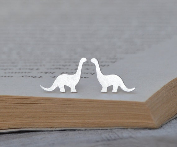 Dinosaur Earring Studs In Sterling Silver, Brontosaurus Earring Studs, Handmade In The UK
