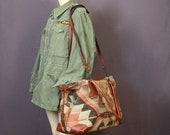1970's velvet lined KILIM overnight extra large bag