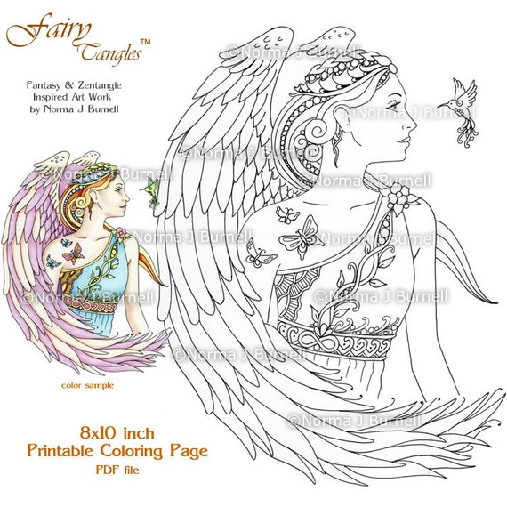 Fairy Tangles Adult Printable Coloring Pages by Norma J