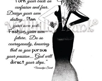 "African American Natural Hair Fashion Illustration Black and White Print ""Courageous"""