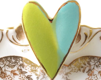 Ceramic Heart Brooch. Turquoise. Lime. Aqua. Yellow-Green. Blue-Green. Olive. Clay. 22k Gold Edge. Porcelain. Statement Jewelry. Large Pin