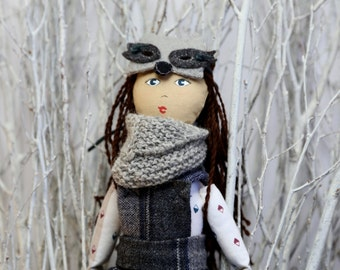 Mika - Raccoon Costume Handmade Heirloom Cloth Rag Knit Art Doll by the Evergreen Doll Company