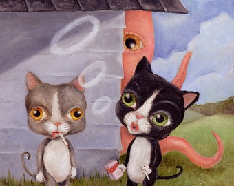 Funny Smoking Cats and Squid Illustration Wall Art Print, Pop Surrealism, Whimsical Big Eye Art