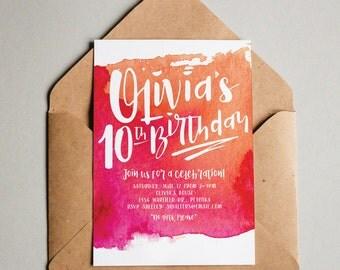 Vibrant Watercolor Art Party Teen Tween Adult Birthday Invitation