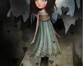 "ACEO/ATC ""Jagged"" Fantasy Themed Girl artwork - Dark Haired girl and Hearts - Blue - Artists Trading Card Mini Fine Art Print 2.5x3.5"