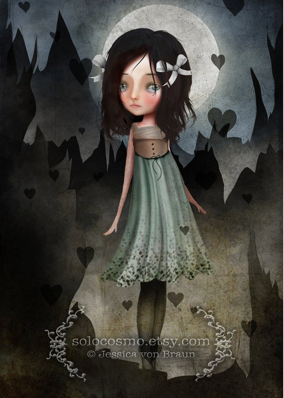 """ACEO/ATC """"Jagged"""" Fantasy Themed Girl artwork - Dark Haired girl and Hearts - Blue - Artists Trading Card Mini Fine Art Print 2.5x3.5"""