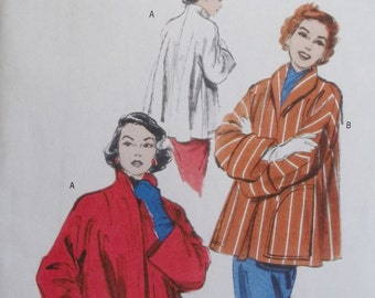 Rockabilly Lined Swing Coat Misses' Butterick B4982 Sewing Pattern Retro 50's Easy to Sew Short Swing Loose Fit Cuffed Jacket Size 4 - 14