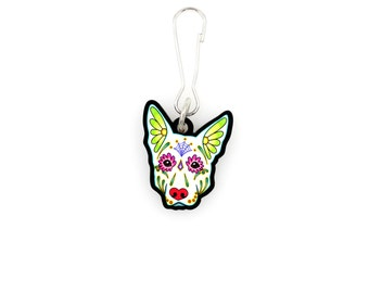 SALE Regularly 7.95 - German Shepherd in White - Collar Charm / Key Chain / Zipper Pull - Day of the Dead Sugar Skull Dog