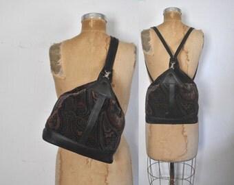 Leather Backpack Bookbag / Sling TAPESTRY body bag