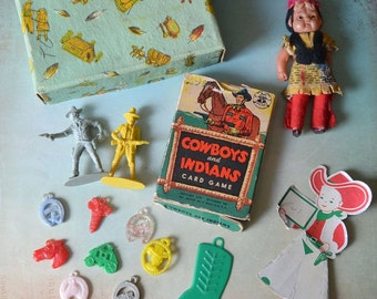 Vintage Cowboys & Indians 1949 Playing Cards Gumball Charms Celluloid Indian