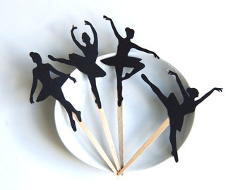 Ballerina Cupcake Toppers . Ballet Dancer Silhouette Party Picks or Skewers (Set of 12)