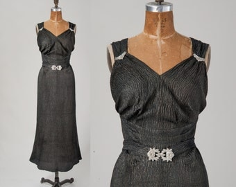 1930s Metallic Evening Gown with Rhinestone Ornaments, Vintage Vionnet Plisse Dress, 30s Sleeveless Bias Cut Long Formal Gown