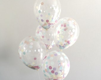 Confetti Balloon / single pre filled clear confetti party balloon / dessert bar candy buffet / birthday balloon / pastel rainbow decorations
