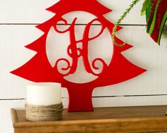 Personalized Monogram Wood Christmas Tree Sign Wreath