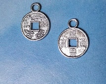 20 tiny Chinese coin charms, silver tone, 12mm