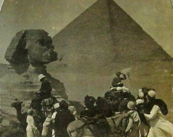 The Great Sphinx and Pyramid - Egypt - Real Photo Stereoview