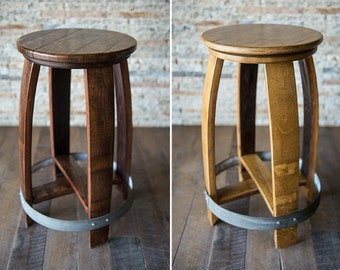 Wine Barrel Head Stool