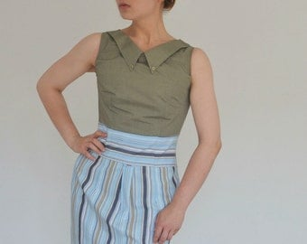 reconstructed DRESS of 2 menshirts, green grey&stripes , Dutch Design and tailormade by STUDIO HENKE (EURsize 36)