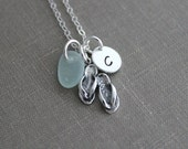 Sterling Silver Flip Flop Sandal Necklace with Sea Glass and Initial Charm, Personalized Beach Jewelry, Choose Your Sea Glass Color, Seafoam