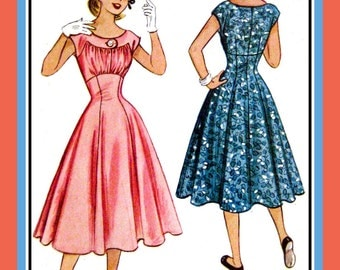 1953-EMPIRE WAIST PARTY Dress-Sewing Pattern-Shaped Yoke-Ruched BodiceButton Statement-Cap Sleeves-Full Flare Flirt Skirt-Size 14-Mega Rare