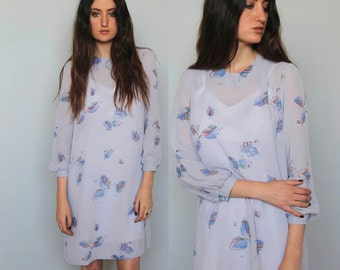 ice spirits -- vintage 80s leaf print chiffon shift dress size S/M