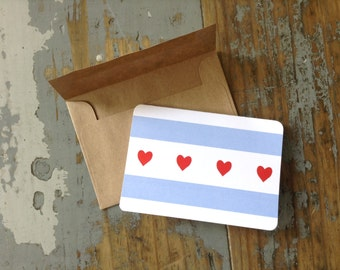 Chicago Flag card with hearts